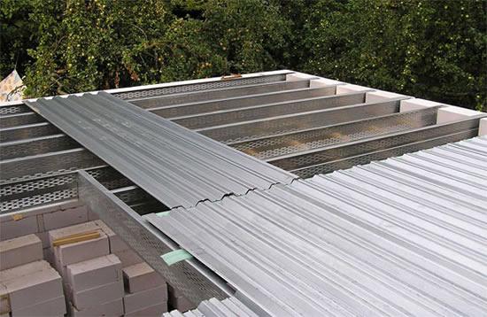 Несущий профнастил для перекрытий, возможные варианты перекрытий: монолитное, межэтажное, бетонное